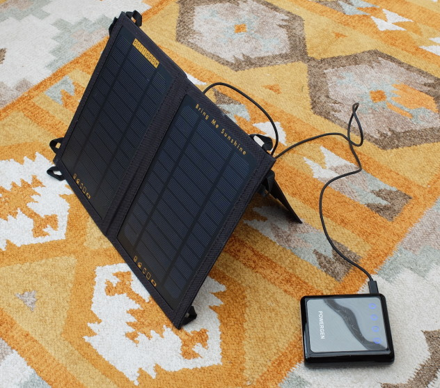 Solar panel and 12,000mAh USB power supply