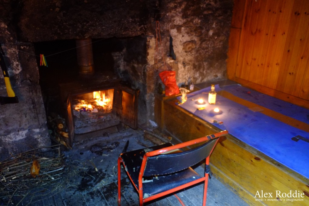 Getting a fire going at Ben Alder Cottage (apologies for the poor focus in this one!)