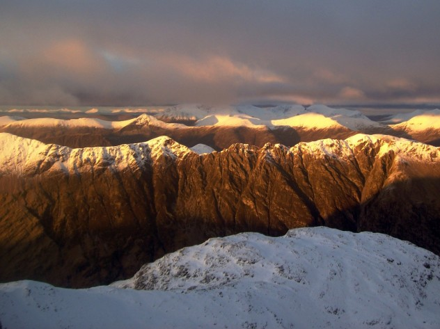 Sunset from the summit of Stob Coire nan Lochan