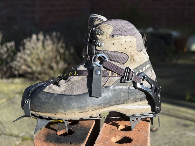 Shown fitted to Scarpa Cristallo GTX (B1) mountaineering boots, size 44