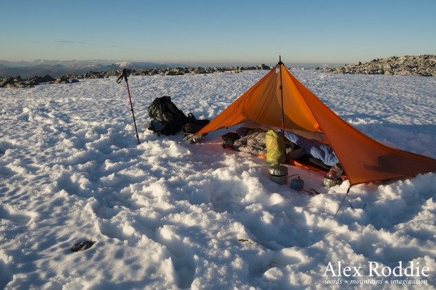 Camp one, near the summit of Stob Coire Claurigh
