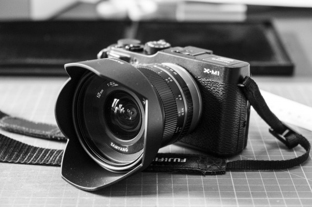 Fujifilm X-M1 fitted with the Samyang 12mm f/2