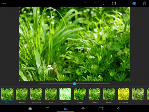 Editing a raw image file in Photoshop Express.