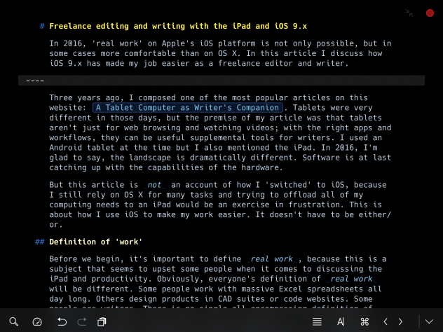 Composing a sheet in Ulysses. The colour scheme can be customised by the user; I often prefer to write in dark mode. Note the extremely clear Markdown notation.
