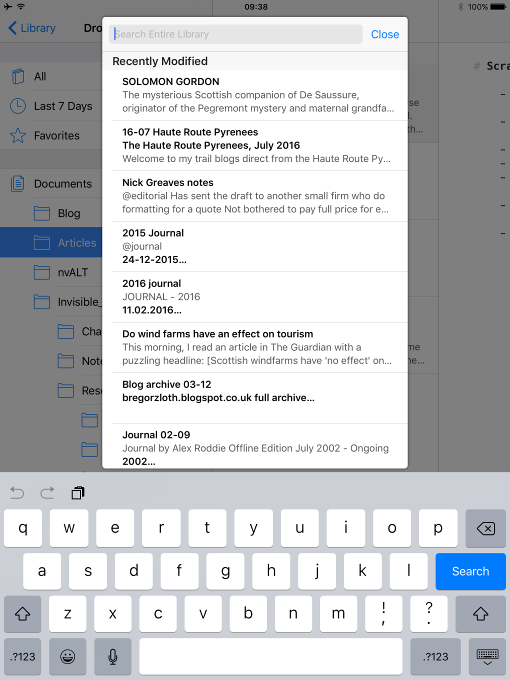 Global search dialogue on iOS