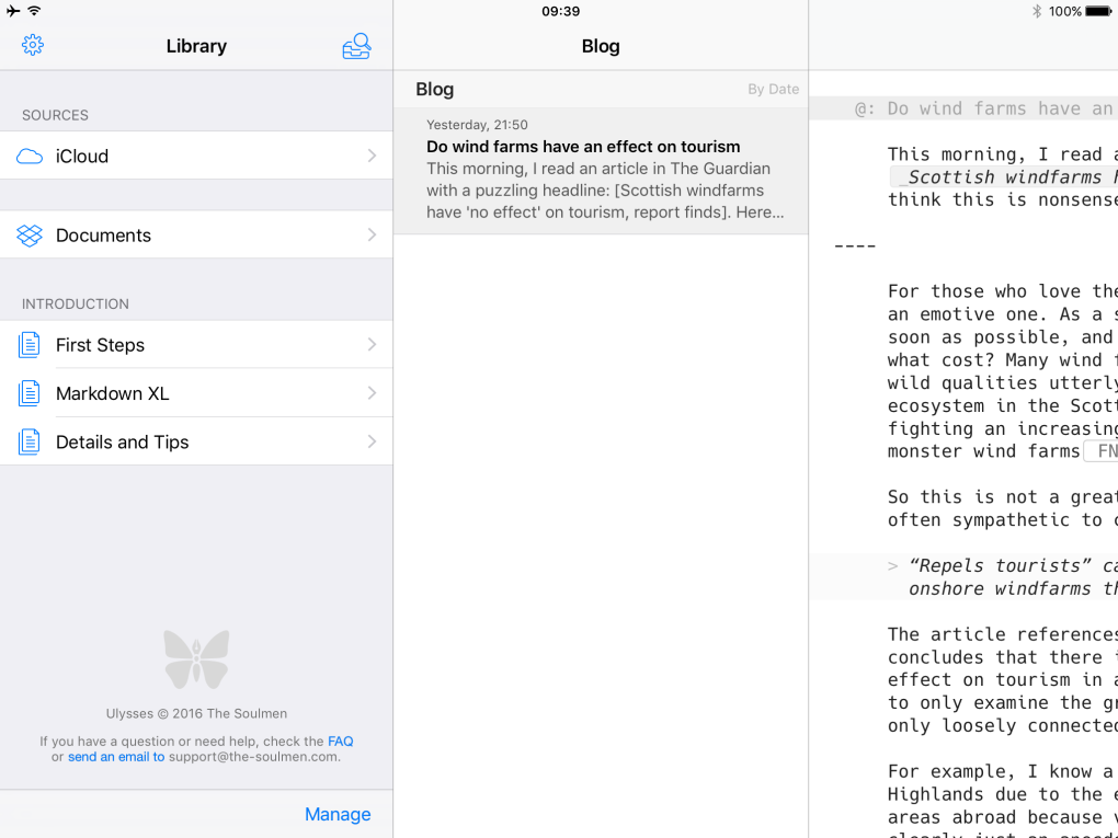 Both data sources – iCloud and Dropbox – displayed in the iOS version