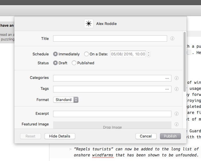 Wordpress publishing on OS X