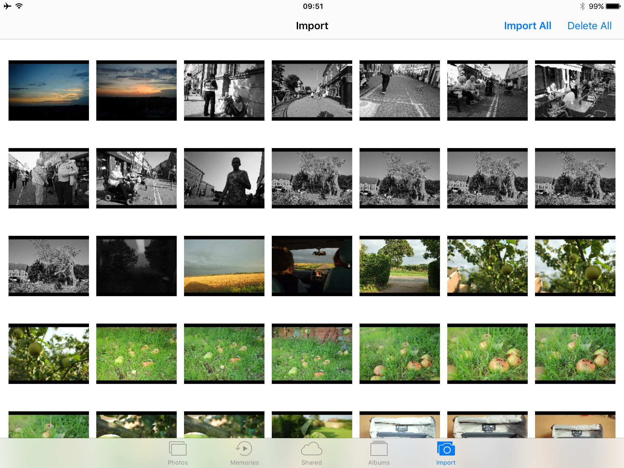 Importing photos on iOS. Some of these files are raw+JPEG pairs, some JPEGs, but there's no way of telling which is which
